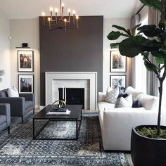 Get inspired by Modern & Contemporary Living Room Design photo by Wayfair. Wayfair lets you find the designer products in the photo and get ideas from thousands of other Modern & Contemporary Living Room Design photos. Paint Colors For Living Room, Living Room Grey, Room Colors, Home Living Room, Monochromatic Living Room, Room And Board Living Room, Blue And Brown Living Room, Living Area, Feature Wall Living Room