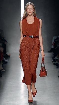 Burnt red fringe dress - Spring Summer 2014 Bottega Veneta