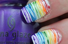 Spun Sugar Rainbow - nail art tutorial the best way to the nails of the futur Really Cute Nails, Cute Nail Art, Beautiful Nail Art, Pretty Nails, Gorgeous Nails, Beautiful Pictures, Spring Nails, Summer Nails, Manicure E Pedicure