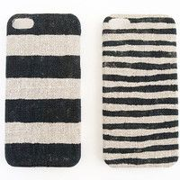 Iphone 5 case black stripes on unbleached natural linen