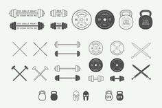 Set of vintage gym logos by AkimD on Creative Market