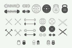 Set of vintage gym logos by AkimD on Creative Market