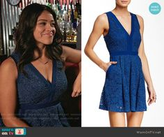Jane's blue lace v-neck dress on Jane the Virgin.  Outfit Details: https://wornontv.net/55994/ #JanetheVirgin