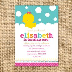 Girl Rubber Ducky Birthday Custom Printable Invitation with Pink Bow invitations. Rubber Duckie invitation great for your next baby shower Rubber Ducky Party, Rubber Ducky Birthday, Rubber Ducky Baby Shower, Baby Shower Duck, Cute Baby Shower Ideas, Fiesta Baby Shower, Baby Shower Program, Baby Shower Invites For Girl, Baby Showers Modernos