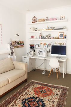 20 Pretty Sewing Room Ideas for An Inspiring Sewing Space 13 Get All Ideas About Home Sewing Room Design, Craft Room Design, Sewing Studio, Small Sewing Space, Sewing Spaces, Small Spaces, Ikea Sewing Rooms, Work Spaces, Office Organization At Work