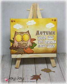 C.C. Designs Meoples Nutty Buddies, C.C. Cutters Make A Card #09 Autumn Die, C.C. Designs Clouds Stencil, C.C. Designs Autumn Enamel Dots