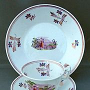 Cup, Saucer & Muffin Plate, Antique Porcelain, 19th C English, Pink Lustre