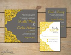 Rustic Lace Daisy Wedding Invitation by MyCrayonsPapeterie // Pewter Gray and Gold, Yellow
