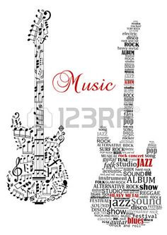 Classic guitars with words and musical notes and text Music for art design