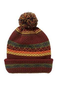Burgundy Pattern Bobble Hat
