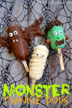 MONSTER Twinkie Pops. Adorable, just creepy enough, and so easy to make! It's great to get the kids involved in creating their very own edible monster :) #candiquik #misscandiquik #halloween