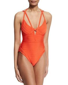 HERVE LEGER Bandage One-Piece Monokini Swimsuit, Vermillion. #herveleger #cloth #