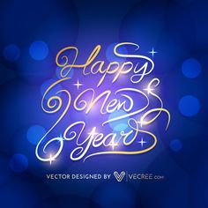 Golden Happy New Year Free Vector #2015 #vecree #newyear