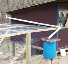 """nice """"DIY Off-Grid Chicken-Watering System"""" For the same cost as an indoor waterer, one reader built an outdoor system with the capacity. Backyard Chicken Coops, Chicken Coop Plans, Building A Chicken Coop, Diy Chicken Coop, Backyard Farming, Chickens Backyard, Chicken Tractors, Chicken Ideas, Inside Chicken Coop"""