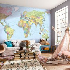 World Map Mural This world map wall mural is both educational and stylish. Major cities of each country pepper the map, along with rivers and geological landmarks. This mural c