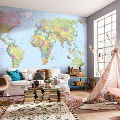 Painel Fotográfico Decorar com Mapa Mundi: Muito Estilo! O mapa mundi pode ser utilizado com muito estilo na decoração, além de ser muito original, é divertido viajar através de mapas. Gostou?! Televendas: (11) 2615-2734 WhatsApp: (11) 94004-4098 #painelfotográfico #decor #adesivodeparede