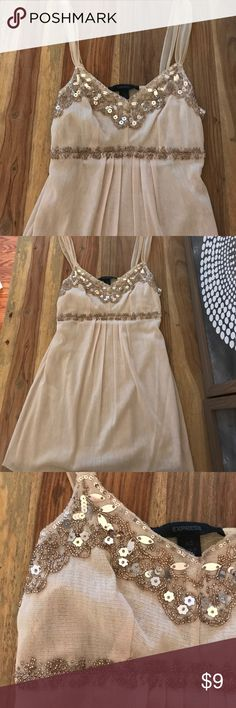Express tank top Cream colored tank with gold beads & sequins Express Tops Tank Tops