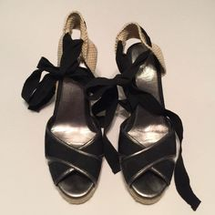 Coach black Peep toe Espadrilles Ankle Wrap heels Excellent condition. Perfect for summer. Toe a large bow or wrap it the toes around your ankle a couple times. Coach Shoes Wedges