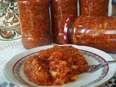 Zacusca de peste(macrou) Canning Recipes, Tandoori Chicken, Fish Recipes, Chicken Wings, Preserves, Baked Potato, Pickles, Pantry, Food And Drink