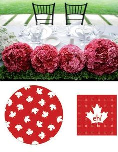 White and red colors, national symbols and creative craft ideas help bring the Canada Day spirit into Canadian homes and design unique and beautiful holiday table decorations and centerpieces Bathroom Designs Images, Simple Bathroom Designs, Shower Tile Designs, Design Your Own Bathroom, Spa Bathroom Design, Canada Day Party, Wall Tiles Design, National Symbols, Party Table Decorations
