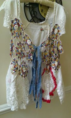 Shabby chic vest made with vintage linens