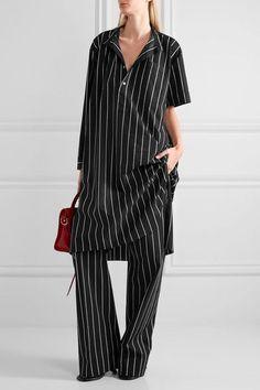 Balenciaga - Striped Cotton-poplin Shirt Dress - Black