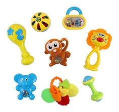 Baby Rattles - Animal Fun 8 Piece Baby Rattle and Teether Toy Play Set in Milk Botttle >>> Click on the image for additional details.