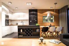 SALON NA WYMIAR - Średnia otwarta kuchnia w kształcie litery l z wyspą, styl nowoczesny - zdjęcie od MARTA PERSKA studio projektowania wnętrz