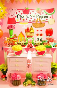 Peppa Pig girl birthday party dessert table and backdrop!  See more party planning ideas at CatchMyParty.com!