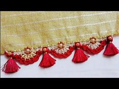 Bridal krosha kuchu design // Nandana Creations // - YouTube Crochet Flower Patterns, Crochet Designs, Crochet Flowers, Easy Rangoli Designs Diwali, Simple Rangoli, Saree Kuchu Designs, Saree Tassels, Saree Blouse Patterns, Embroidery