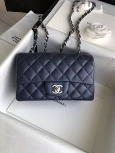 a604dfd04c4d CHANEL Lambskin Quilted Mini Rectangular Flap Navy Chanel Mini Rectangular,  Chanel News, Chanel Handbags