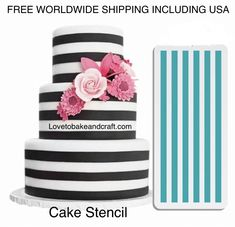 Cake Stencil, Stripe cake stencil, Geometric cake stencil, Free worldwide shipping Come fare una torta a strisce Fondant Cake Tutorial, Cake Topper Tutorial, Cake Toppers, Cake Decorating Techniques, Cake Decorating Tutorials, Themed Birthday Cakes, Themed Cakes, Cake Stencil, Stencils