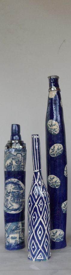 my slab built squonky bottles earthenware wax resist under glaze transfers lustre Earthenware, Luster, Glaze, Bottles, Mosaic, Mixed Media, Wax, Blue And White, Ceramics