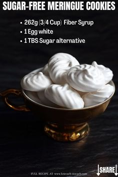 Finally, YOU can enjoy easy to do and real-taste Sugar-Free Meringue Cookies in your lifestyle. Only 2 ingredients and you are done. Sugar Free Recipes, Gluten Free Recipes, Low Carb Recipes, Sweet Recipes, Cookie Recipes, Party Recipes, Sugar Alternatives, Healthy Alternatives, Sugar Free Meringue Cookies Recipe