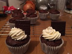 Chocolate cupcakes with peppermint frosting and a after eight mint to top it off