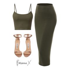 Olive green & nude