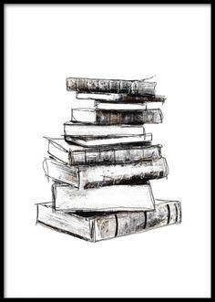 Svartvit poster med gamla böcker, vintage.