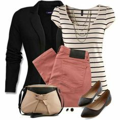 Stripes with dusty rose skinnies