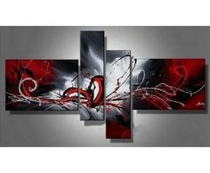Colorful Lines Red Abstract Art 4 Piece Canvas Art Hand Painted Art Abstract Oil Painting Group Painting Artwork Wall Art Gallery Wrapped Ready to Hang Hand Painting Art, Art Painting Oil, Wall Art Painting, Oil Painting On Canvas, Modern Abstract Wall Art, Painting, Canvas Wall Art Set, Abstract Wall Art, Oil Painting Abstract