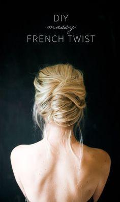 Modern French Twists, Messy French Twists, French Twist Updo, French Bun, Five Minute Hairstyles, Twist Hairstyles, Bride Hairstyles, French Hairstyles, French Twist Tutorial