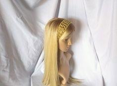 Goldenrod yellow Boho crochet headband Olive green Unisex cotton linen tie back Hippie hair accessory Festival wear