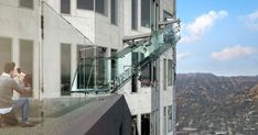 Open-air observation deck includes glass slide ft above downtown LA The Skyslide will be made made entirely of thick clear glass Los Angeles Skyscrapers, Us Bank Tower, Banks Building, Tower Building, Glass Floor, Urban Setting, Thing 1, Building Exterior, Outdoors