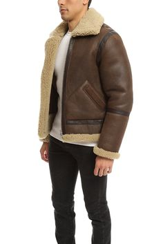 Acne Ian Leather Shearling Jacket in Brown for Men | Lyst