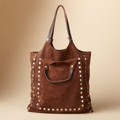 JESSIE BAG -- Soft, slouchy suede gives this metal-studded bag its take-it-easy attitude