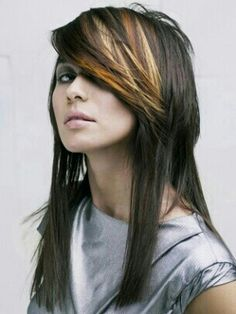 Long Straight Hair with Layered Highlighted Bangs