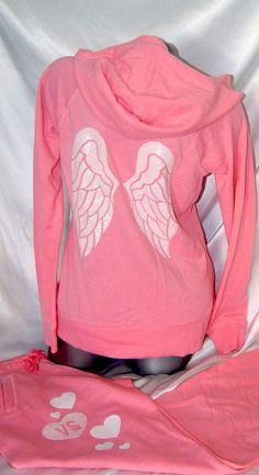 Victoria's Secret Supermodel Essentials Angel Wing Hoodie SweatPant Set Small…