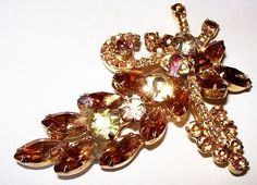 Juliana D&E Brooch Pin Amber Topaz Jonquil by BrightgemsTreasures, $64.50
