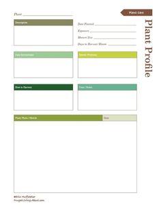 Print This Free Garden Planner: Plant Profile Printable