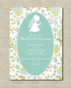 soft aqua and yellow floral first communion invitation with girl silhouette. $15.00, via Etsy.