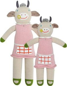 """Knit Dolls by Blablakids: Claire the cow $44-12"""" $56-18"""""""